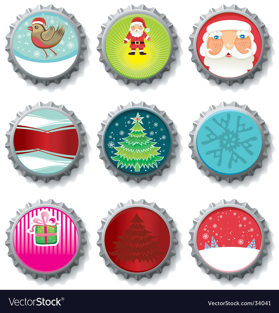 Christmas bottle caps buttons vector | Price: 3 Credit (USD $3)