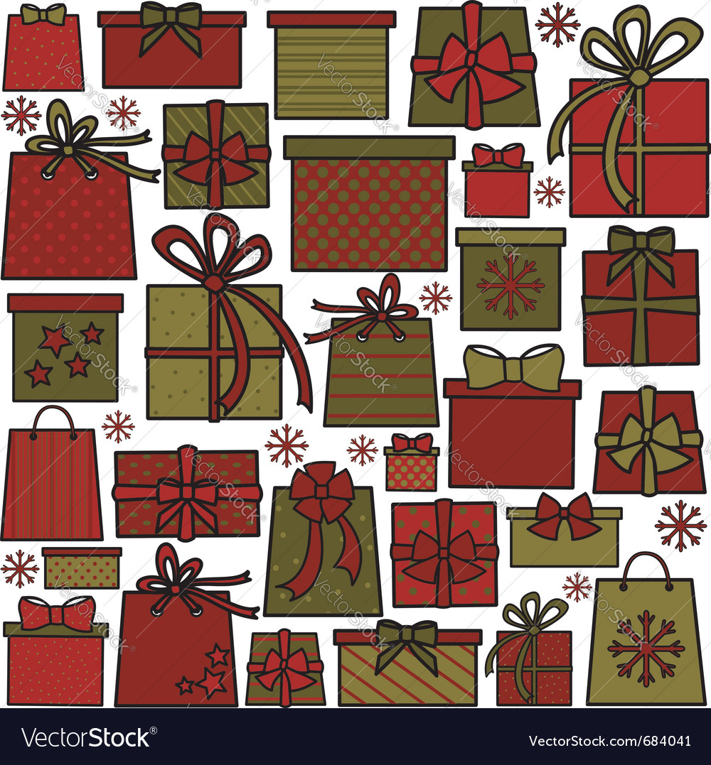 Christmas presents collection vector | Price: 1 Credit (USD $1)