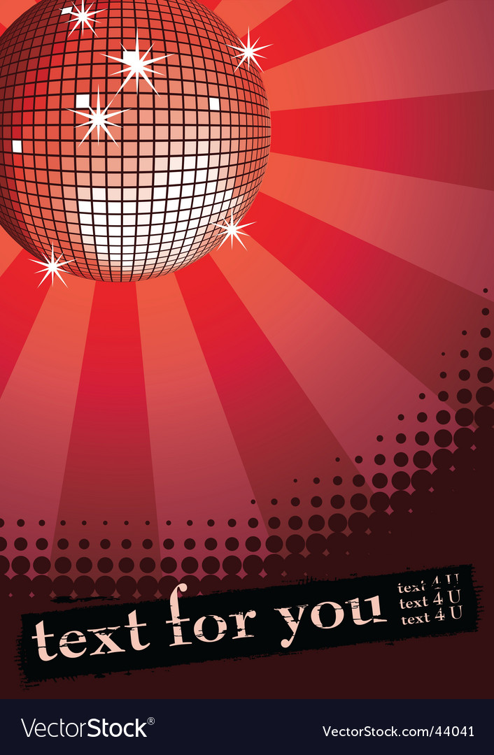 Disco ball on red vector | Price: 1 Credit (USD $1)