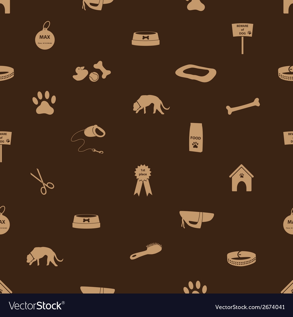Dog icons seamless brown pattern eps10 vector | Price: 1 Credit (USD $1)
