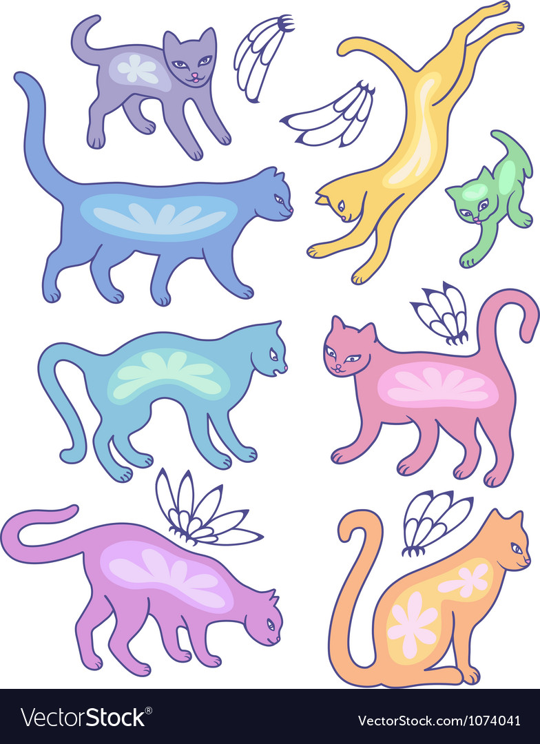 Eight cat silhouettes and fly flowers vector | Price: 1 Credit (USD $1)