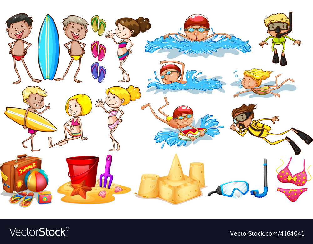 Group of kids enjoying summer vector