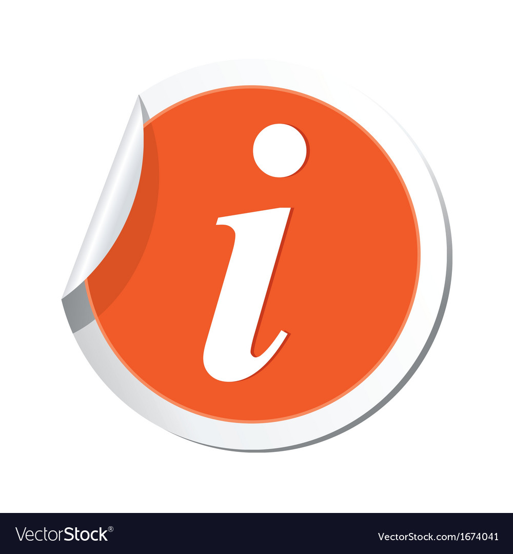 Information icon orange sticker vector | Price: 1 Credit (USD $1)