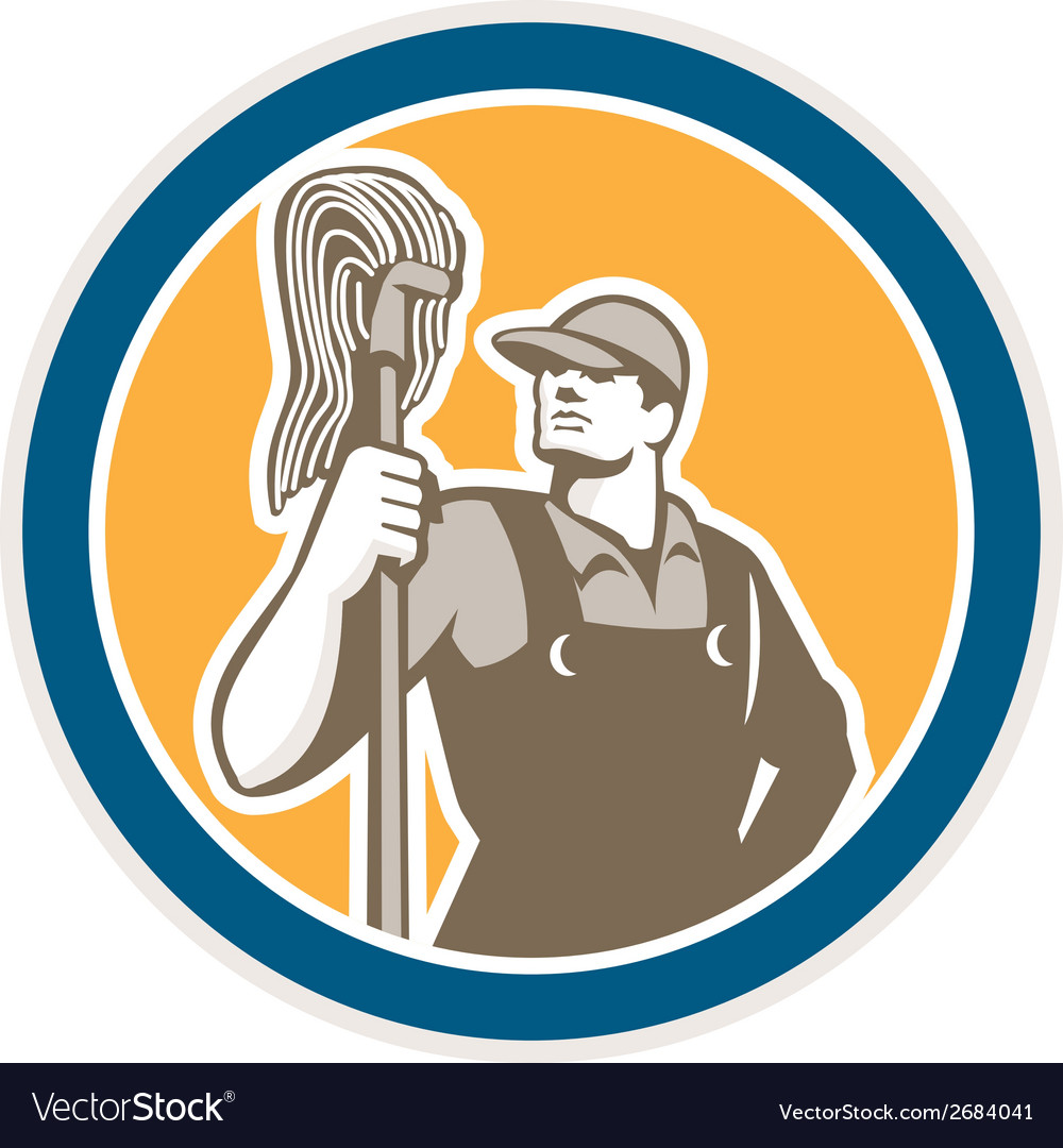 Janitor cleaner holding mop circle retro vector