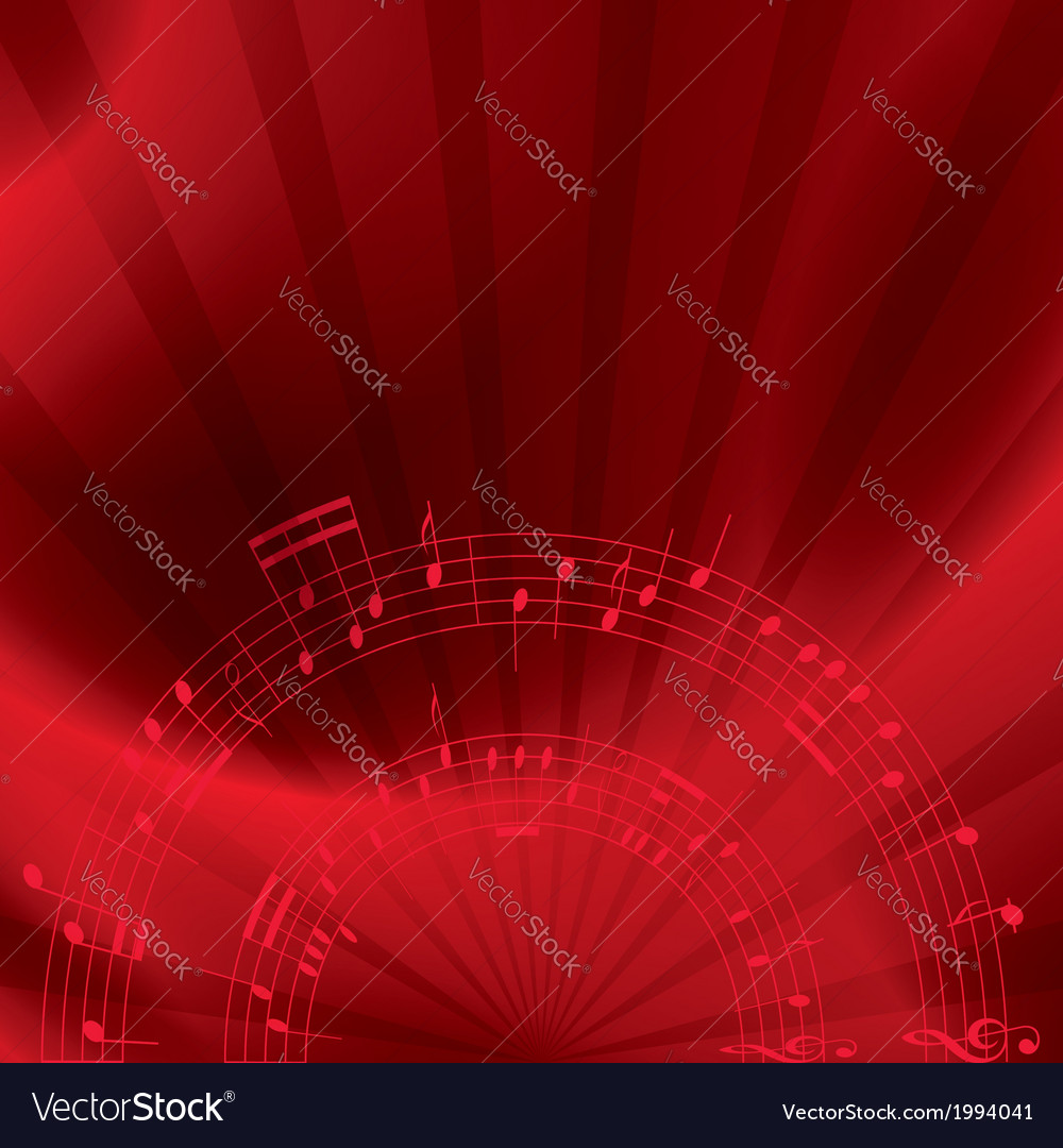 Music background with notes - red vector | Price: 1 Credit (USD $1)