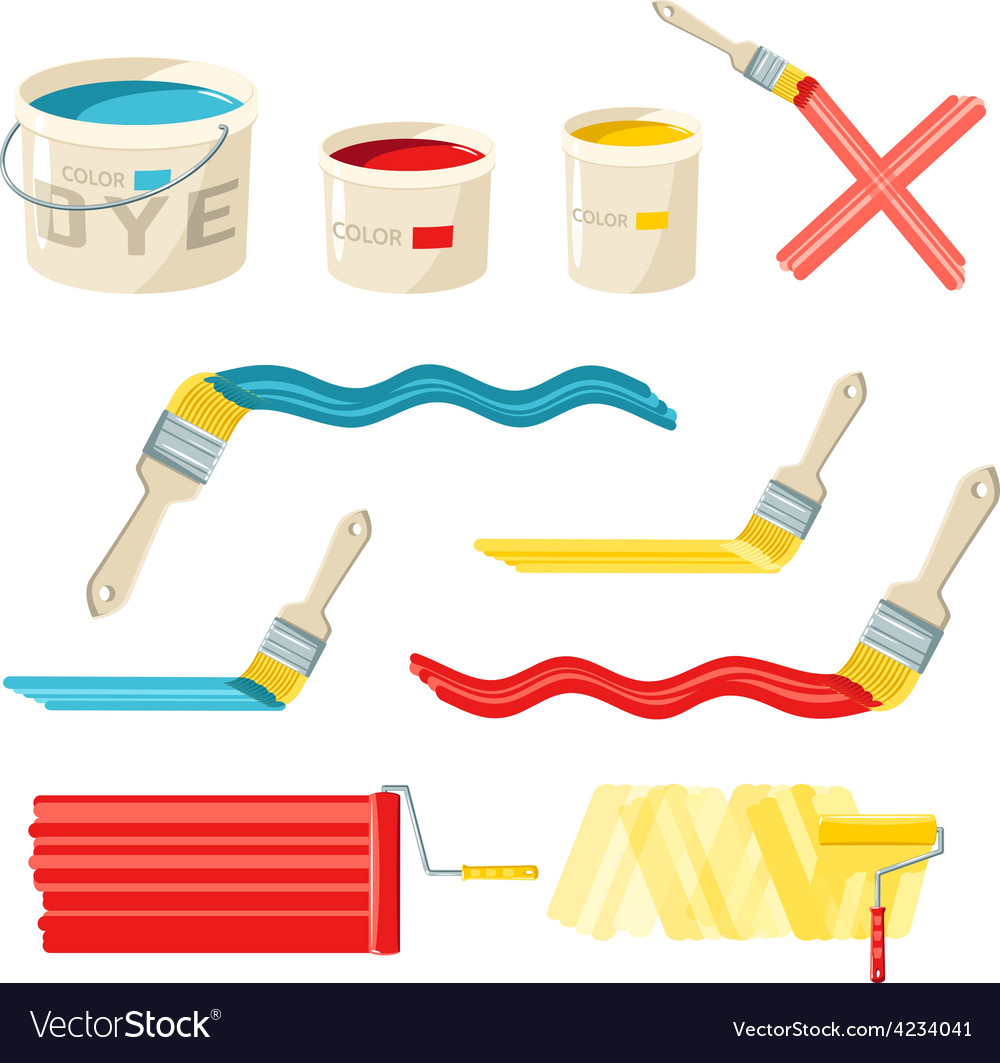 Roller and paint brushes vector | Price: 1 Credit (USD $1)