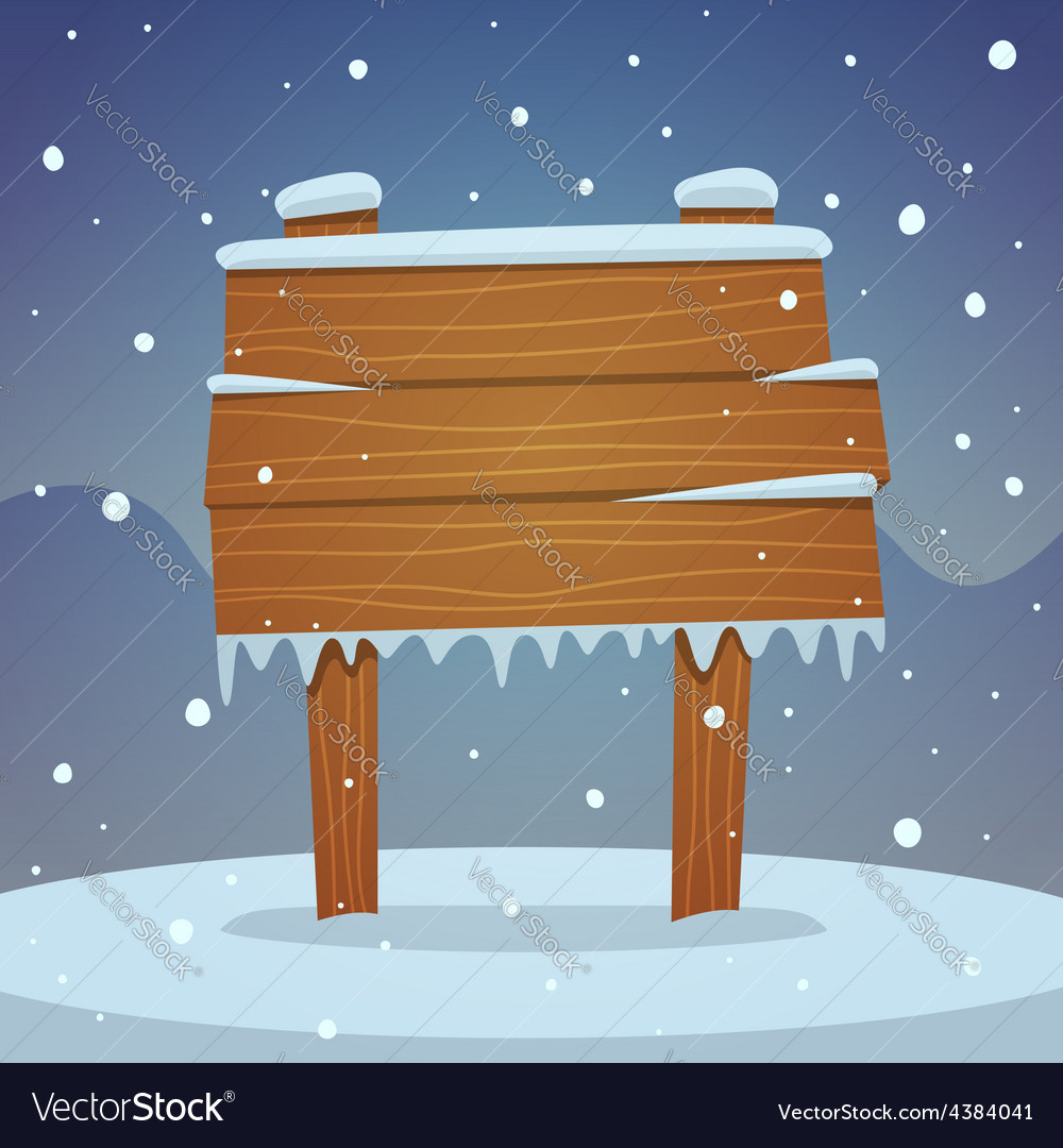 Wooden board in snow vector | Price: 3 Credit (USD $3)