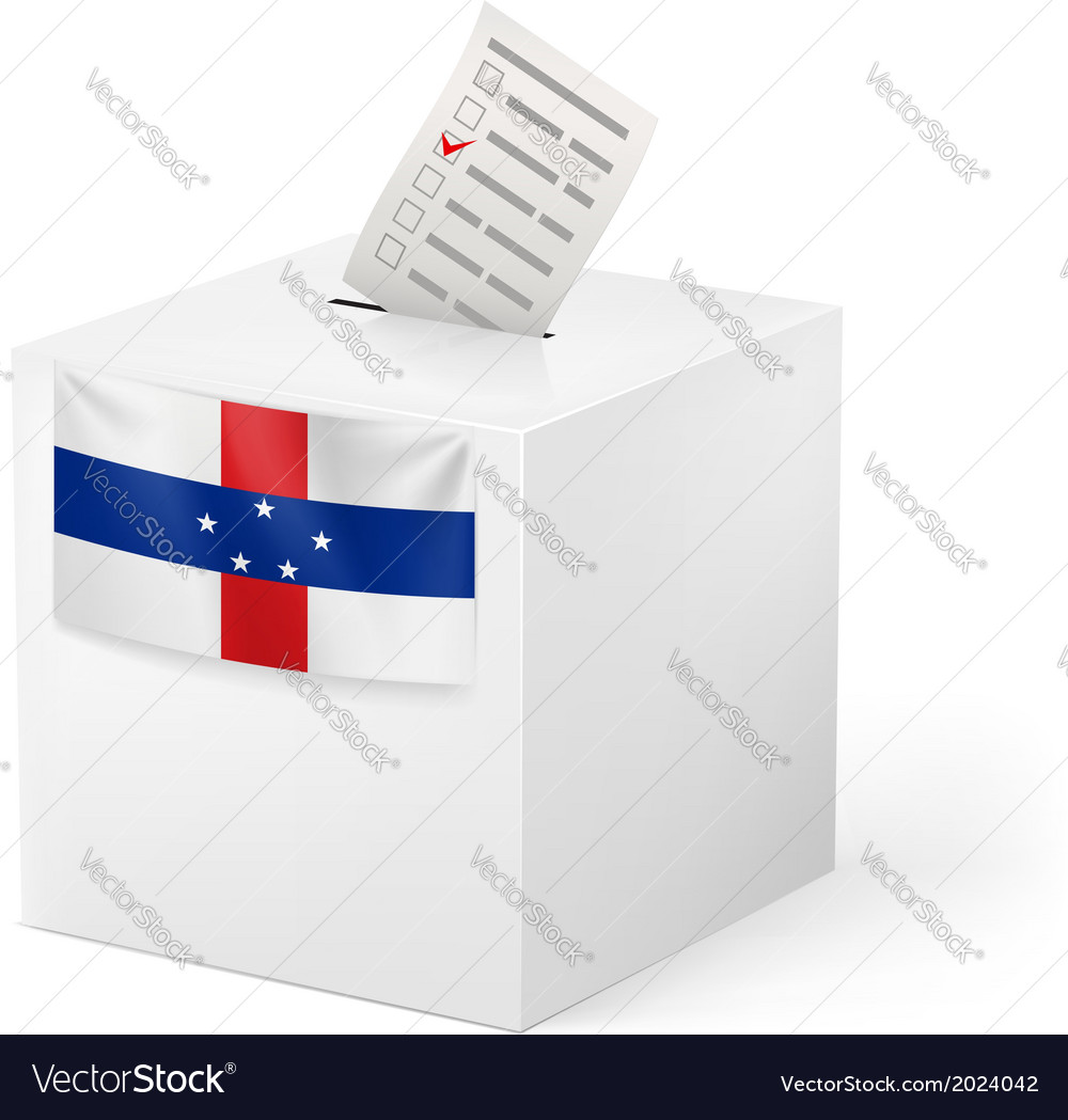 Ballot box with voting paper netherlands antilles vector | Price: 1 Credit (USD $1)