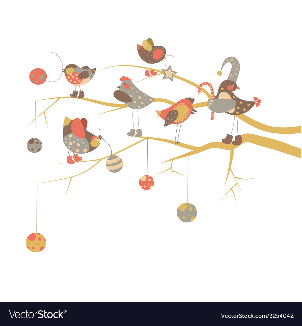 Birds celebrate christmas vector | Price: 1 Credit (USD $1)
