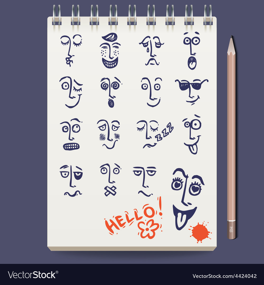 Faces characters sketch vector | Price: 1 Credit (USD $1)