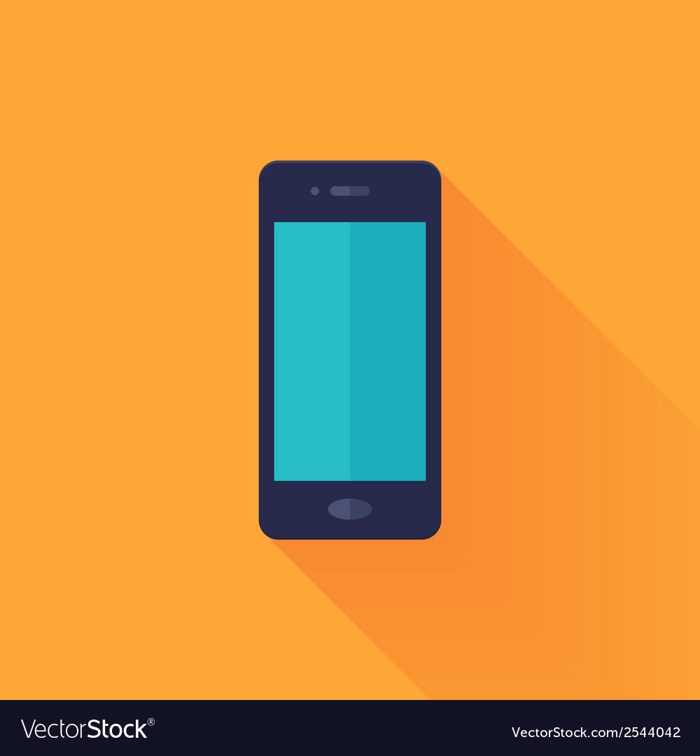 Flat mobile phone over orange vector   Price: 1 Credit (USD $1)