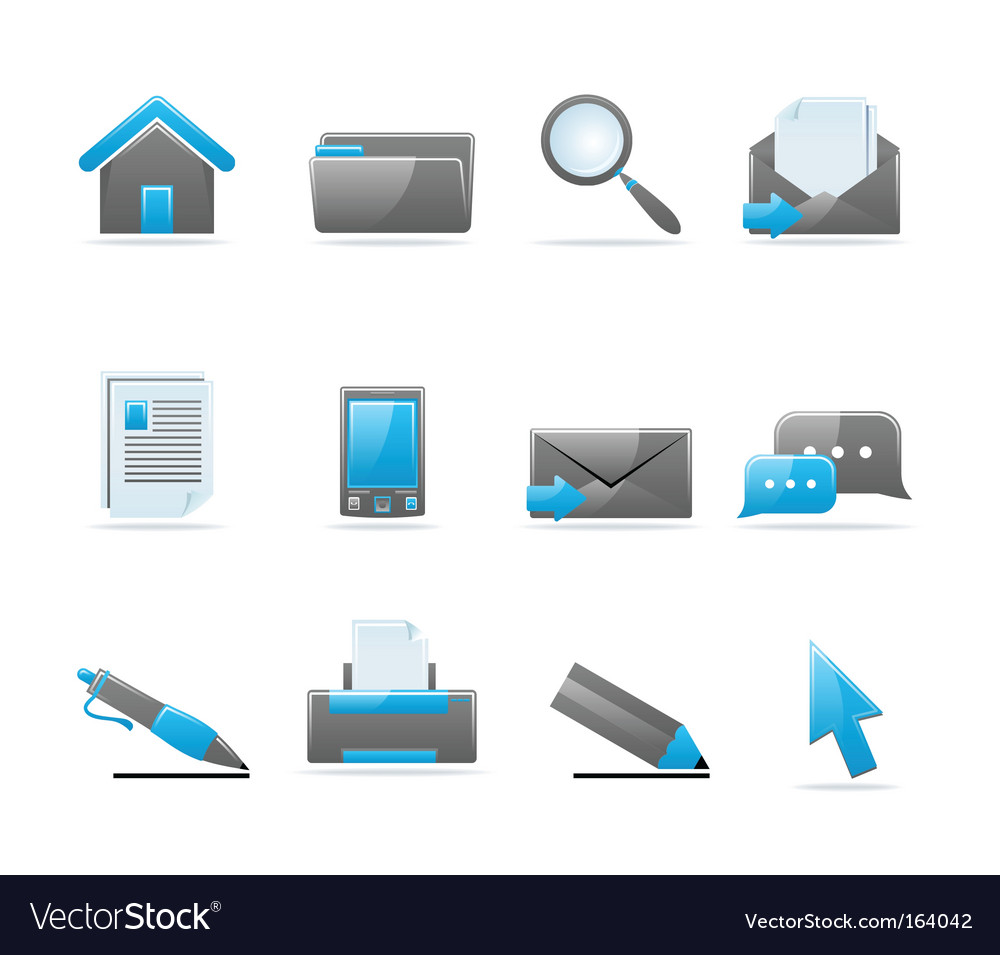 Glossy icon set vector | Price: 1 Credit (USD $1)