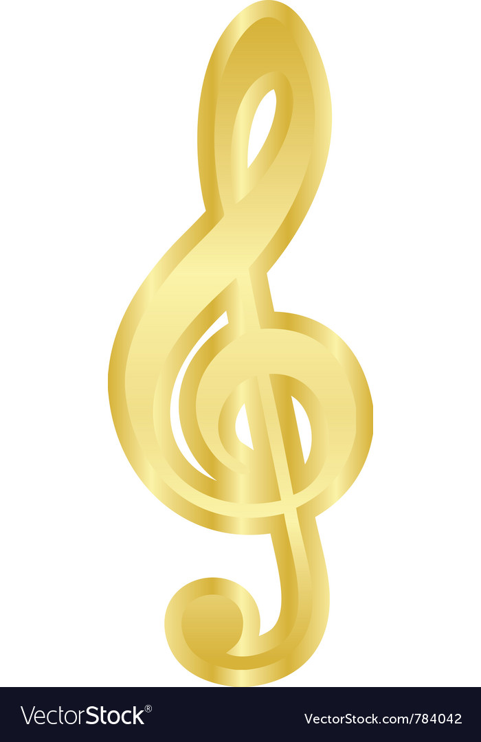 Gold treble clef vector | Price: 1 Credit (USD $1)