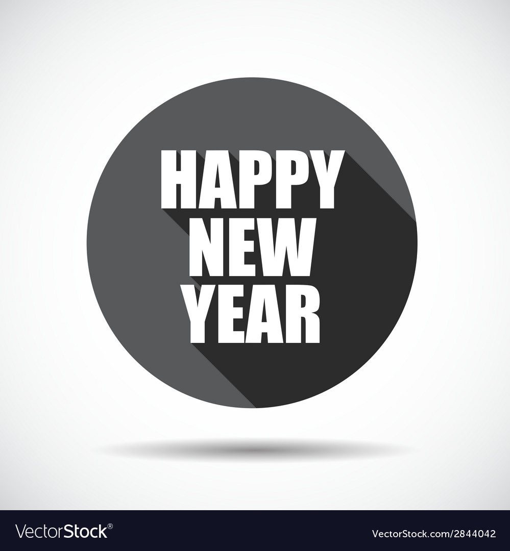 Happy new year flat icon with long shadow vector | Price: 1 Credit (USD $1)