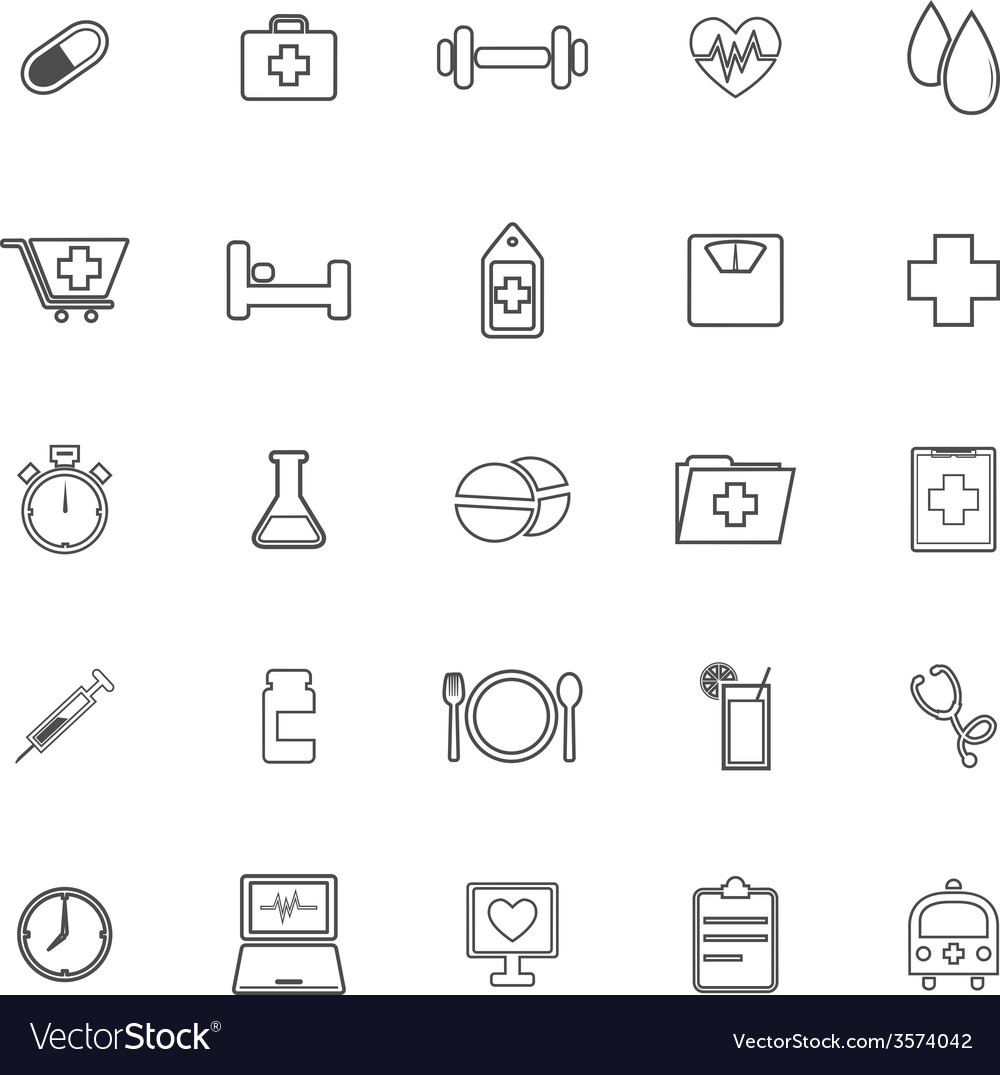 Health line icons on white background vector   Price: 1 Credit (USD $1)