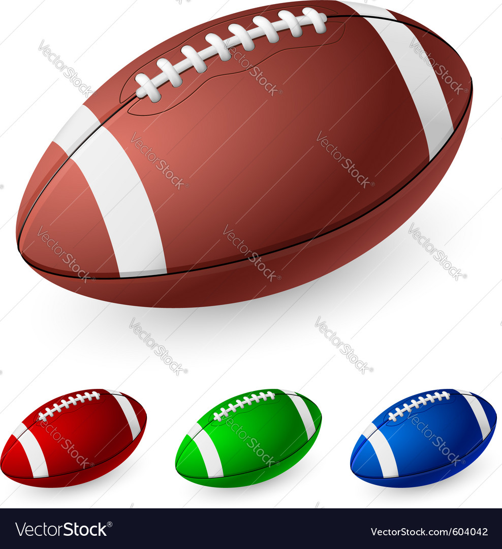 Realistic american football on white background vector | Price: 1 Credit (USD $1)