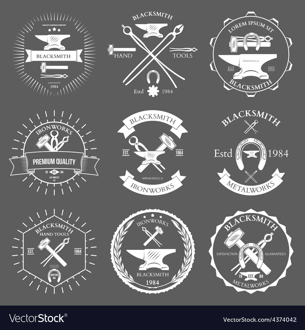 Set of vintage blacksmith labels and design vector | Price: 1 Credit (USD $1)