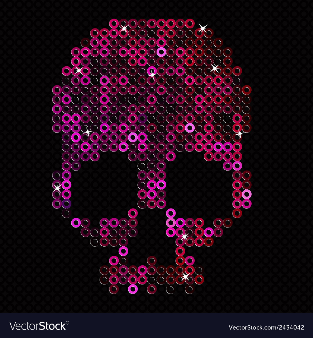 Skull pink beads sequins vector | Price: 1 Credit (USD $1)