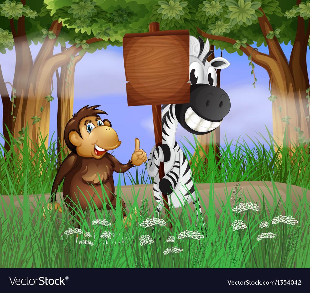 Zebra gorilla signboard vector | Price: 1 Credit (USD $1)