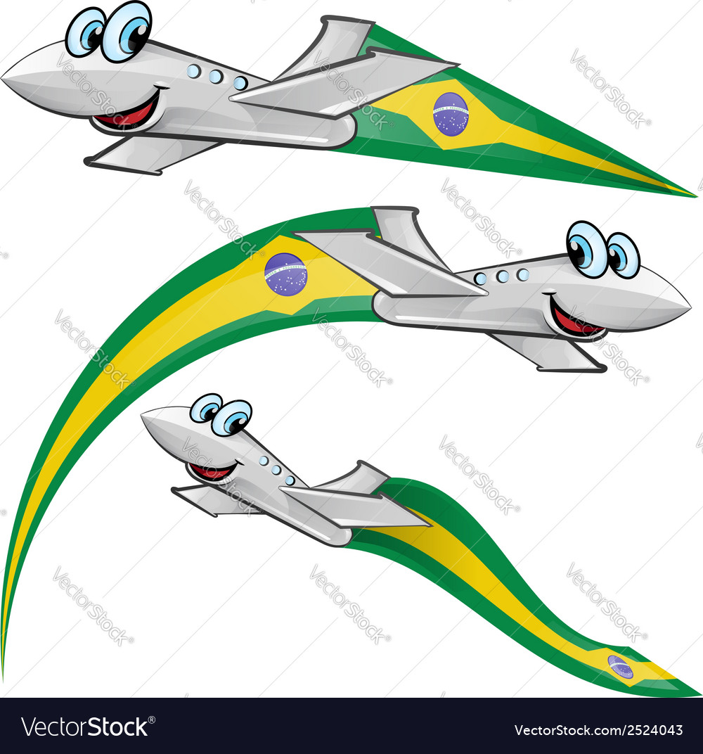Airoplane cartoon with brazil flag vector | Price: 1 Credit (USD $1)