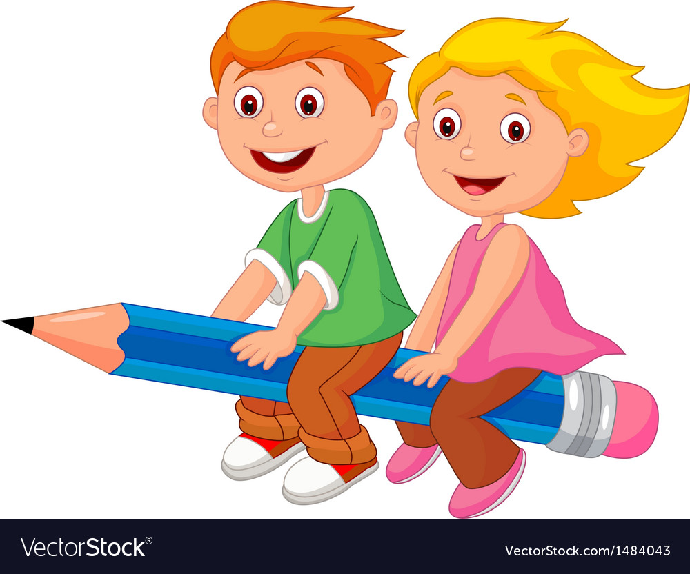 Cartoon boy and girl flying on a pencil vector | Price: 3 Credit (USD $3)