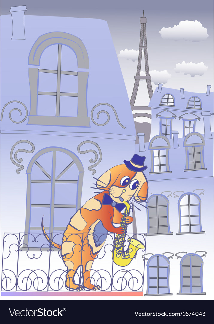 Dog musician in blue evening paris vector | Price: 1 Credit (USD $1)