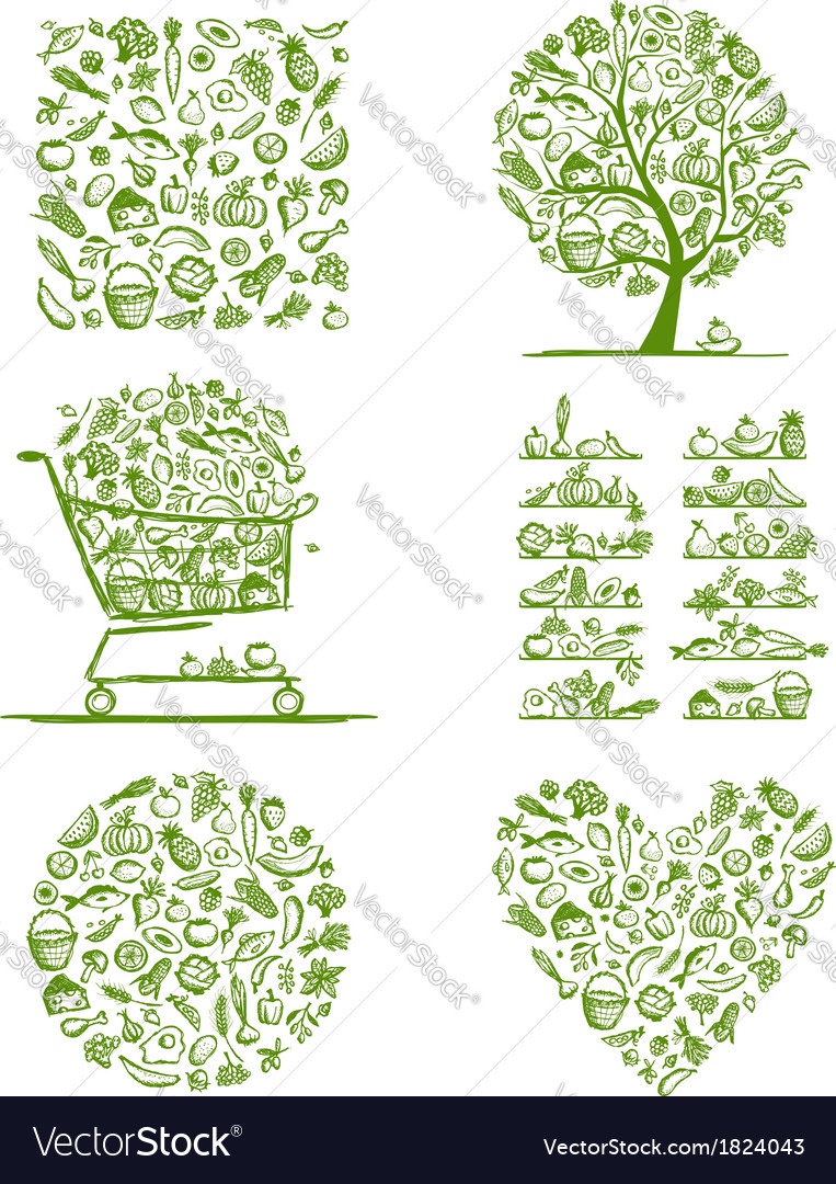 Healthy food set sketch for your design vector | Price: 1 Credit (USD $1)