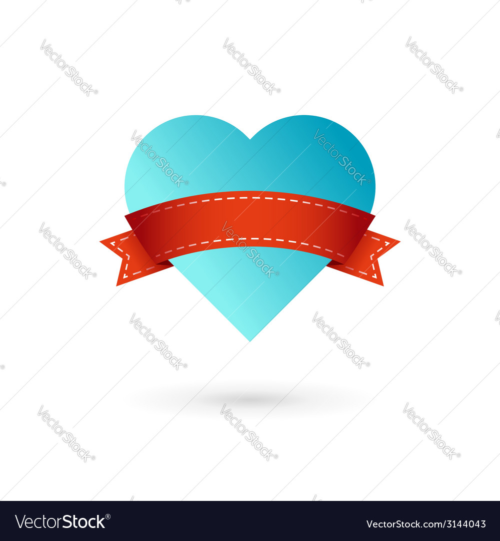 Heart and ribbon symbol logo icon vector | Price: 1 Credit (USD $1)
