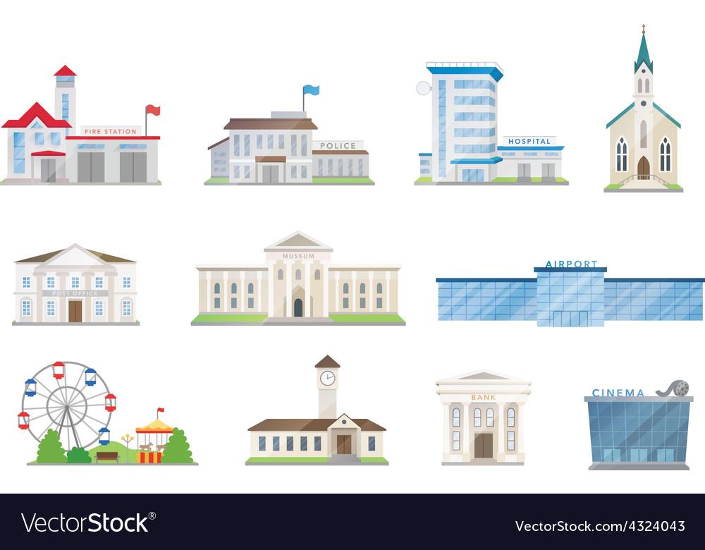 Public city buildings set vector | Price: 1 Credit (USD $1)