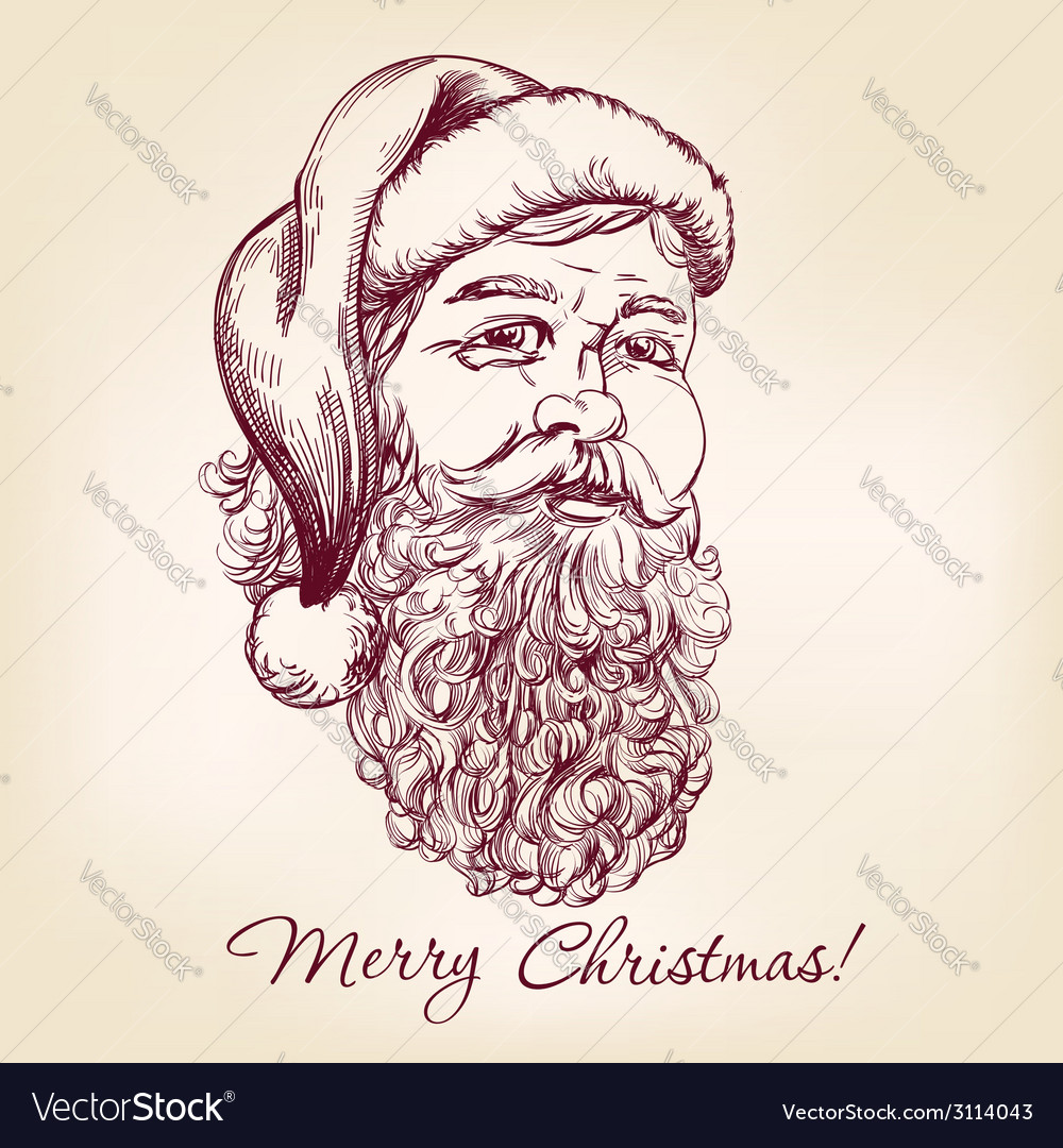 Santa claus hand drawn llustration vector | Price: 1 Credit (USD $1)