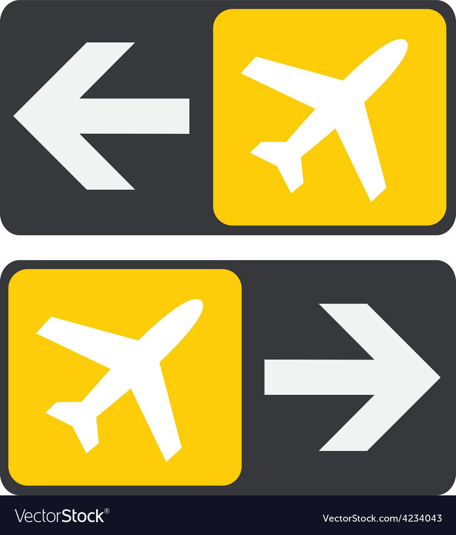 To plane sign arrow vector | Price: 1 Credit (USD $1)