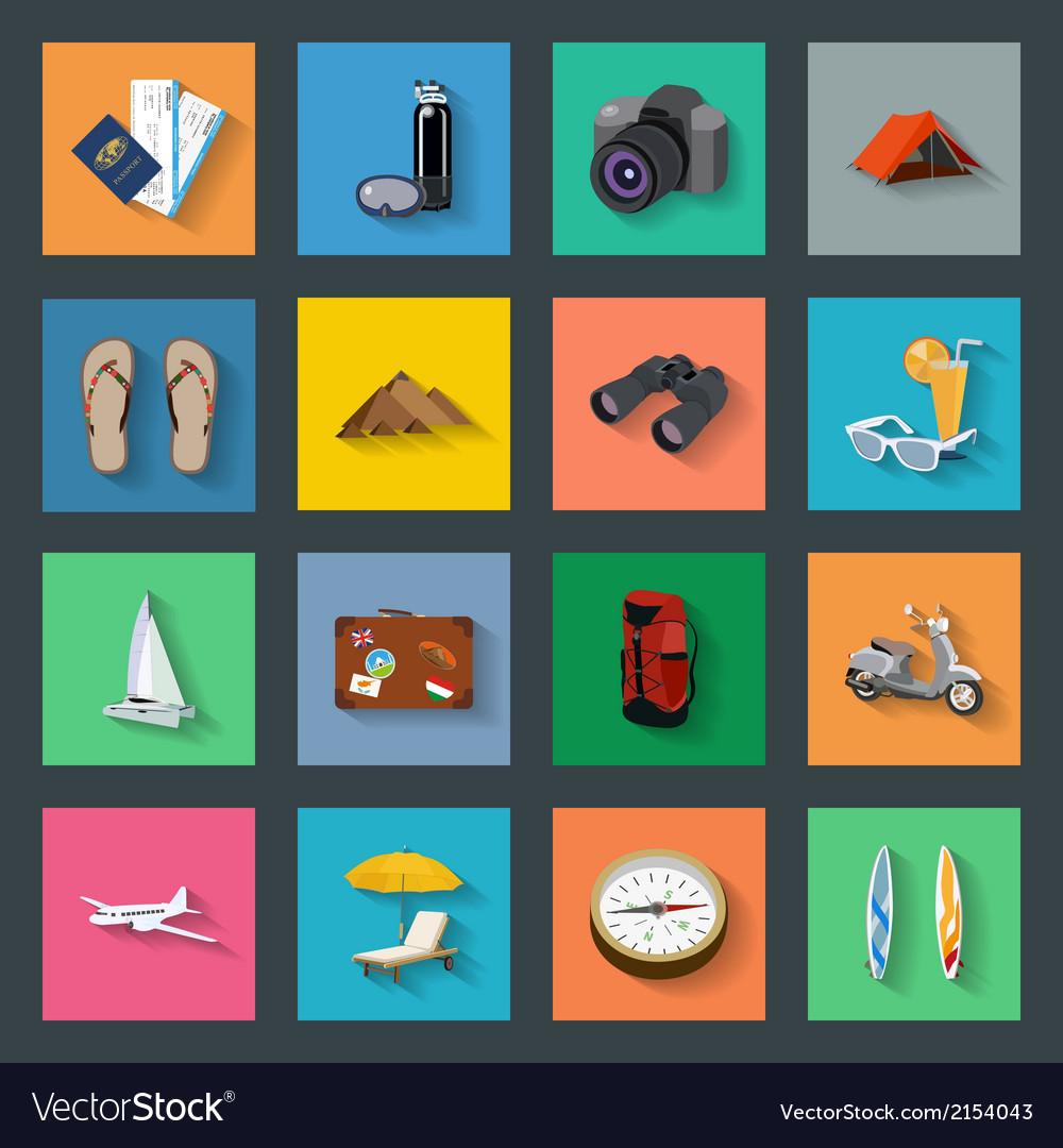Tourism flat icons set vector | Price: 1 Credit (USD $1)
