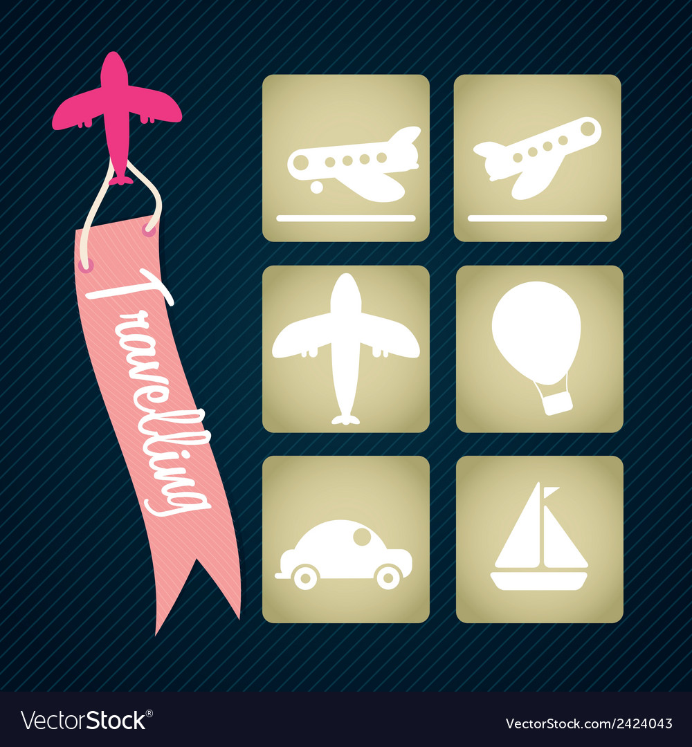 Travel and transport icons vector   Price: 1 Credit (USD $1)