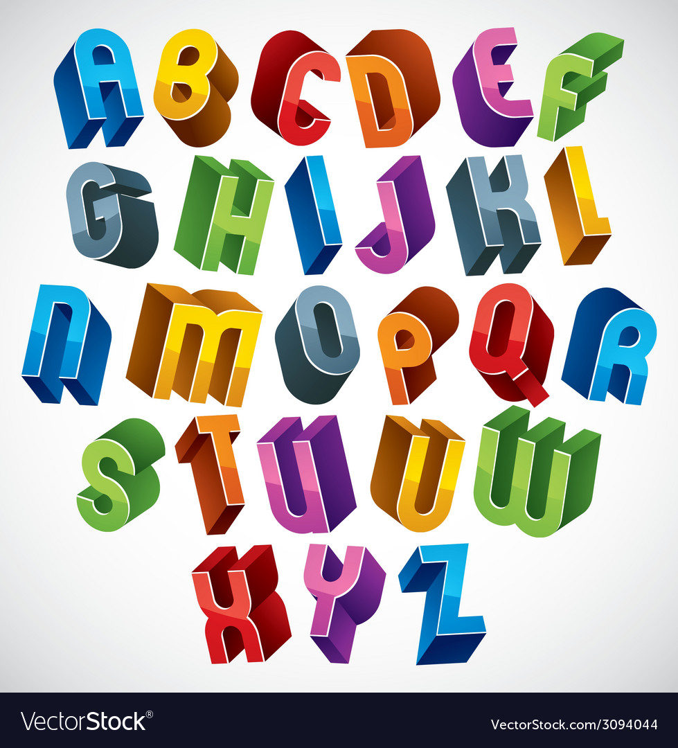 3d font colorful glossy letters vector | Price: 1 Credit (USD $1)
