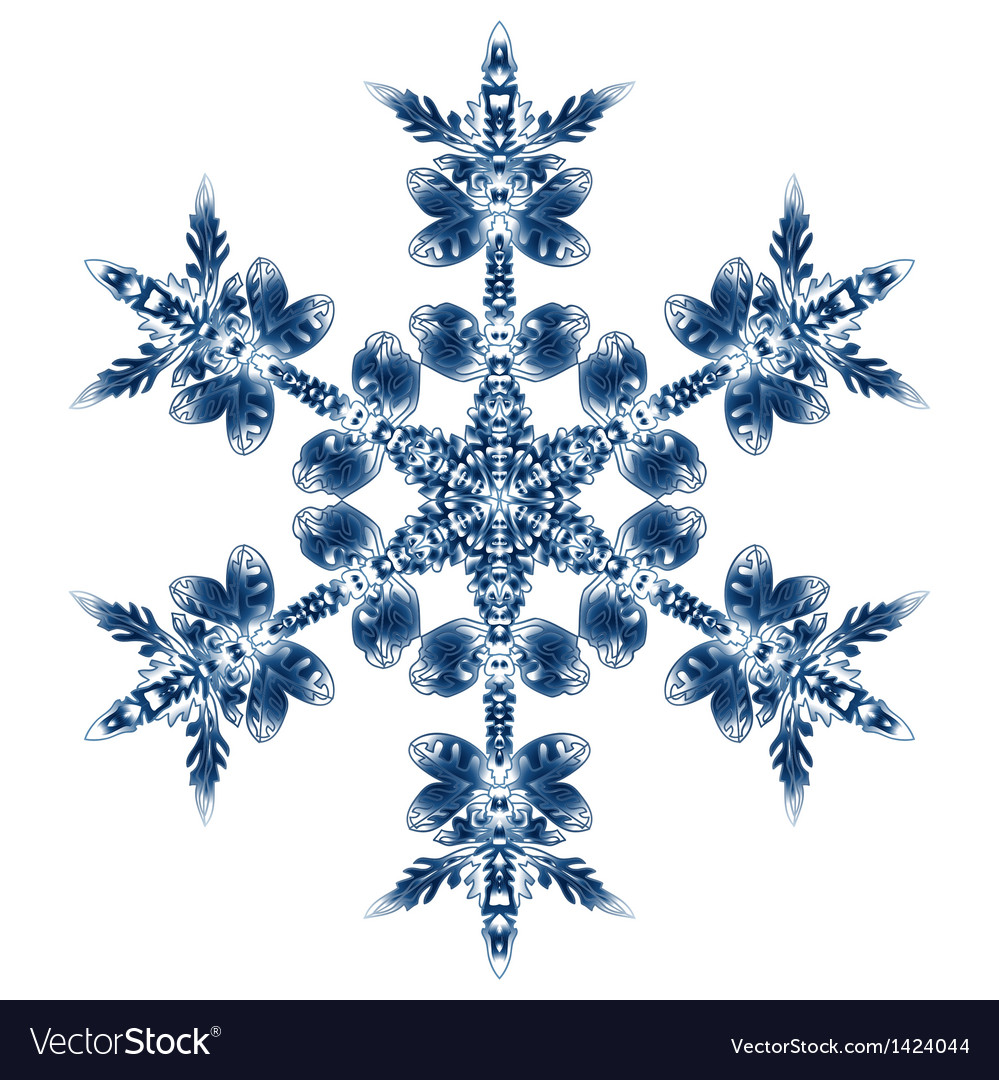 Beautiful blue snowflake isolated on white vector | Price: 1 Credit (USD $1)