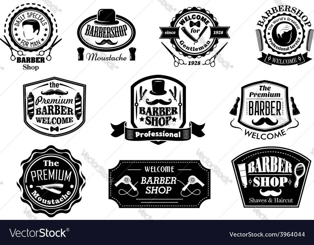 Black and white barber shop labels vector | Price: 1 Credit (USD $1)
