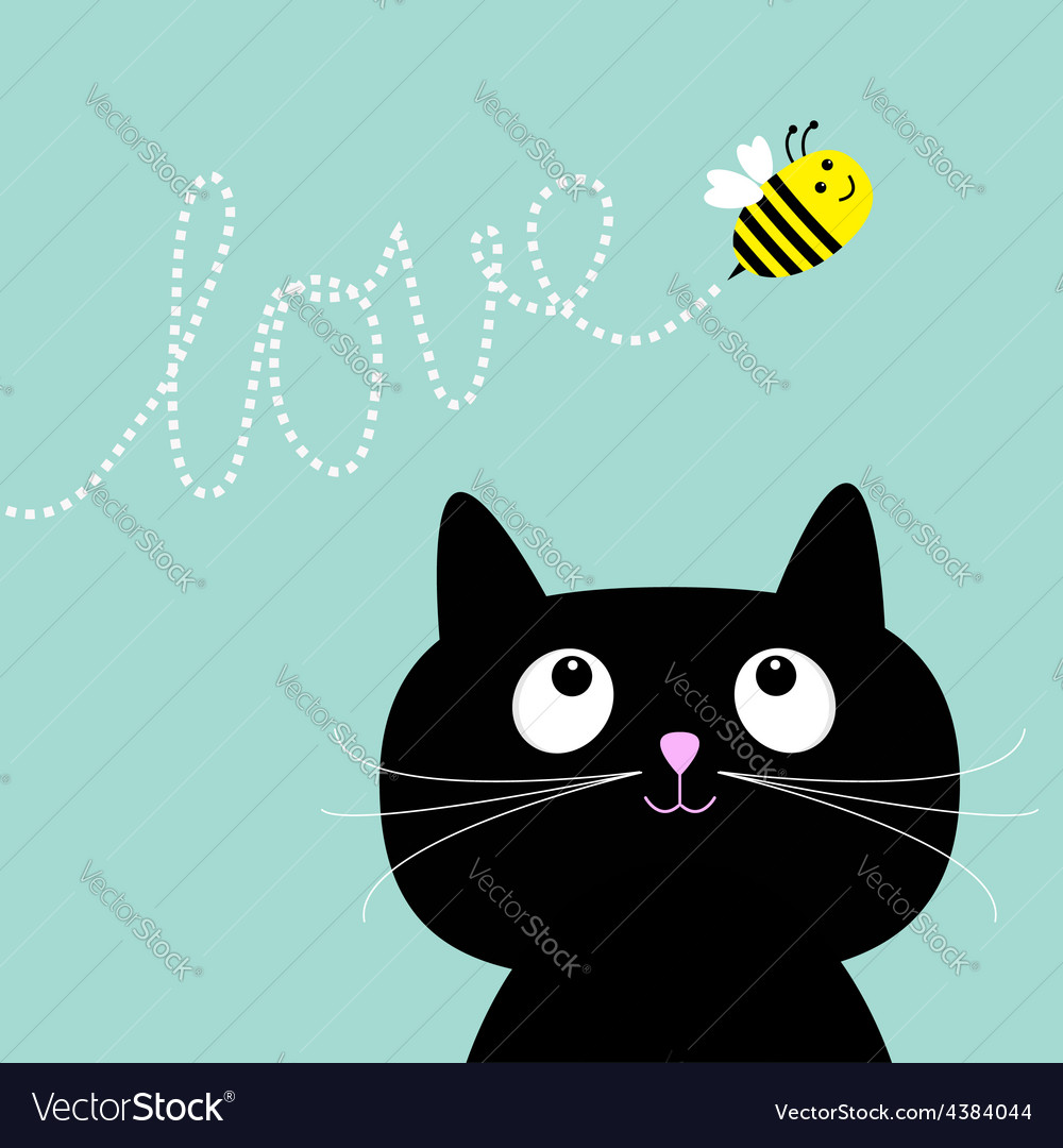 Cute cartoon cat bee dash line love flat design vector | Price: 1 Credit (USD $1)