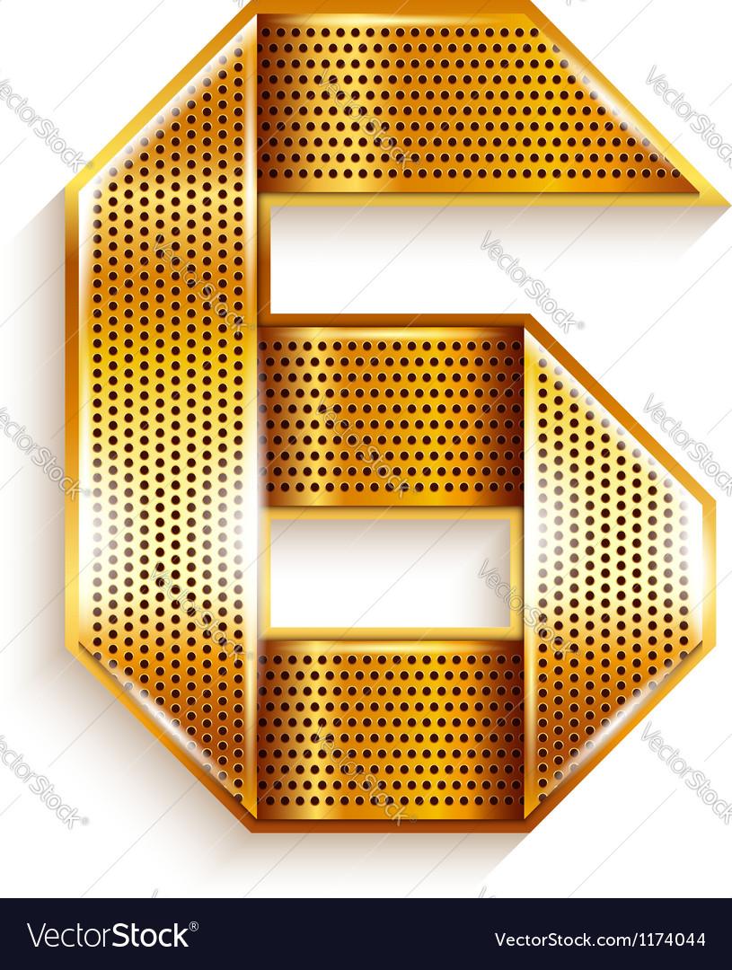 Number metal gold ribbon - 6 - six vector   Price: 1 Credit (USD $1)