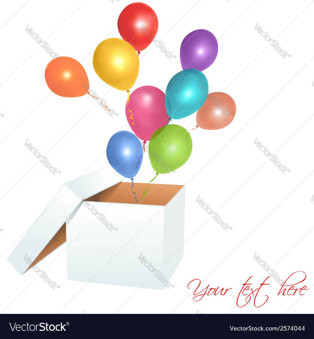Open box with balloons vector | Price: 1 Credit (USD $1)
