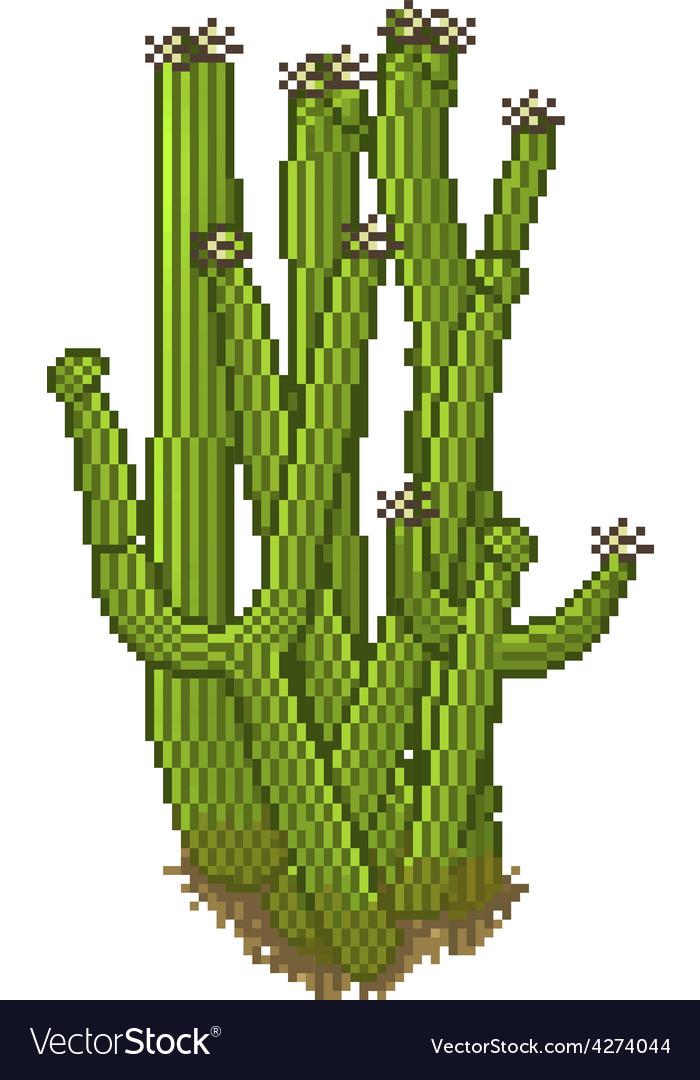 Pixel style cactus vector | Price: 1 Credit (USD $1)