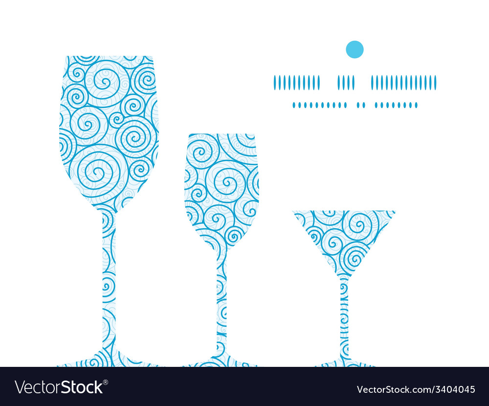 Abstract swirls three wine glasses silhouettes vector | Price: 1 Credit (USD $1)