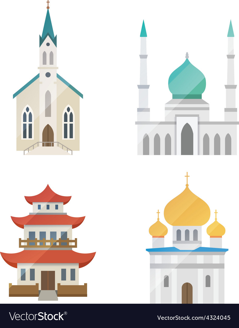 Church set vector | Price: 1 Credit (USD $1)