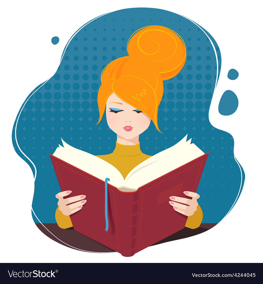 Girl reading a book vector | Price: 1 Credit (USD $1)