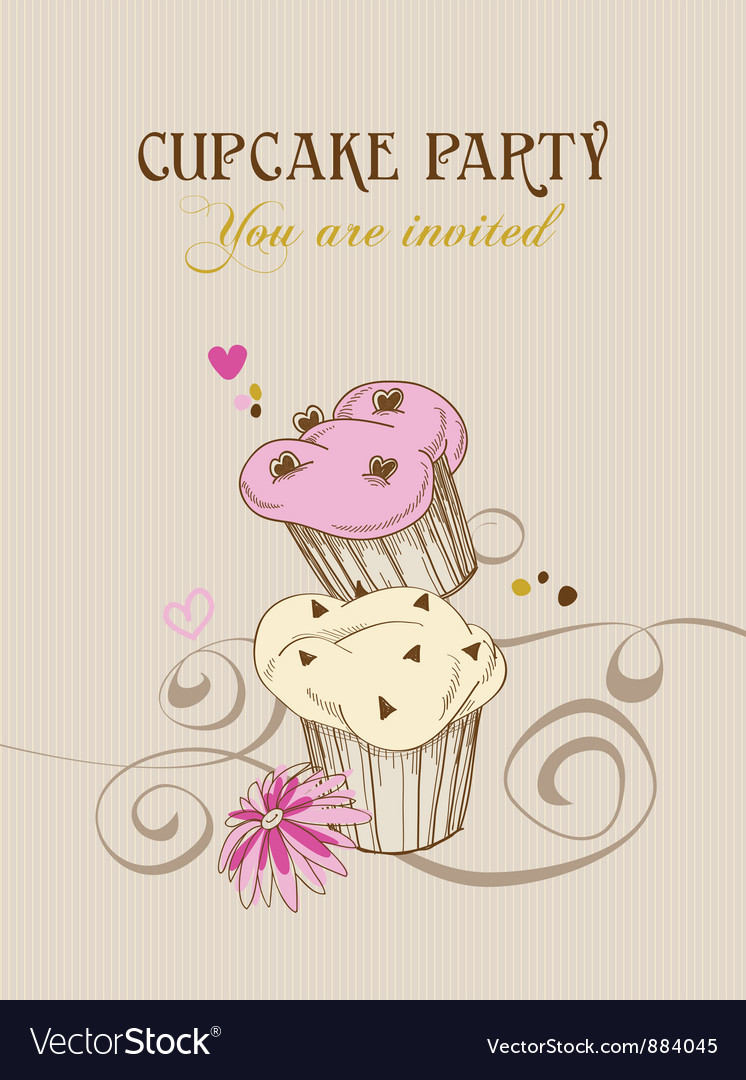 Retro cupcake party invitation vector | Price: 1 Credit (USD $1)
