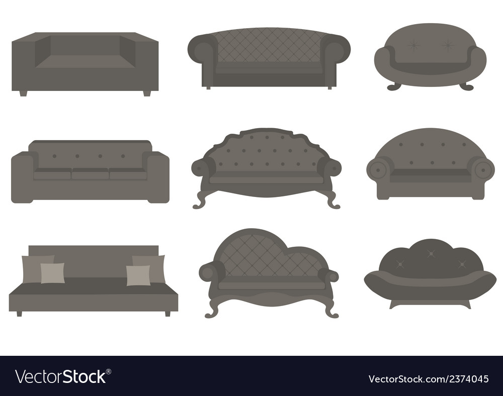 Sets of sofa furniture for an interior vector | Price: 1 Credit (USD $1)
