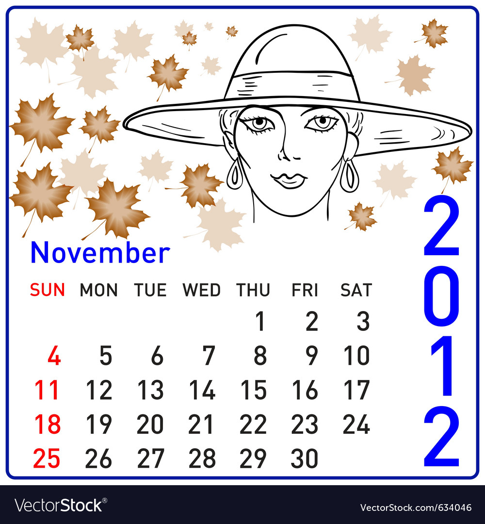 2012 year calendar in november vector | Price: 1 Credit (USD $1)