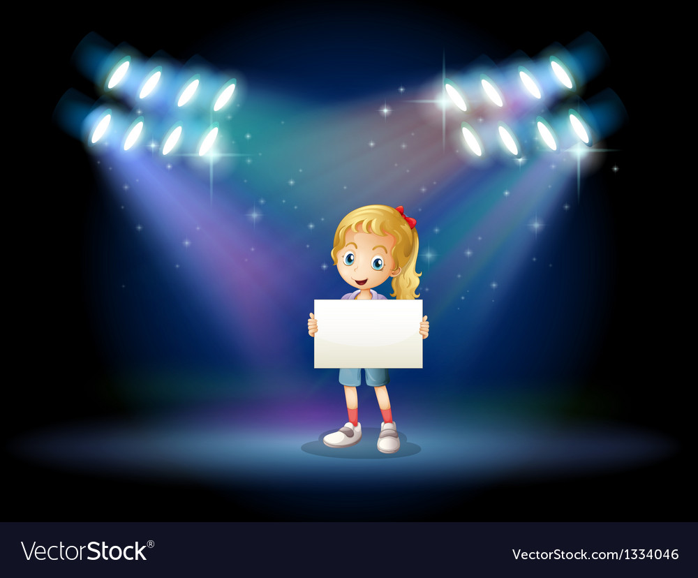 A stage with a young girl holding an empty signage vector | Price: 1 Credit (USD $1)