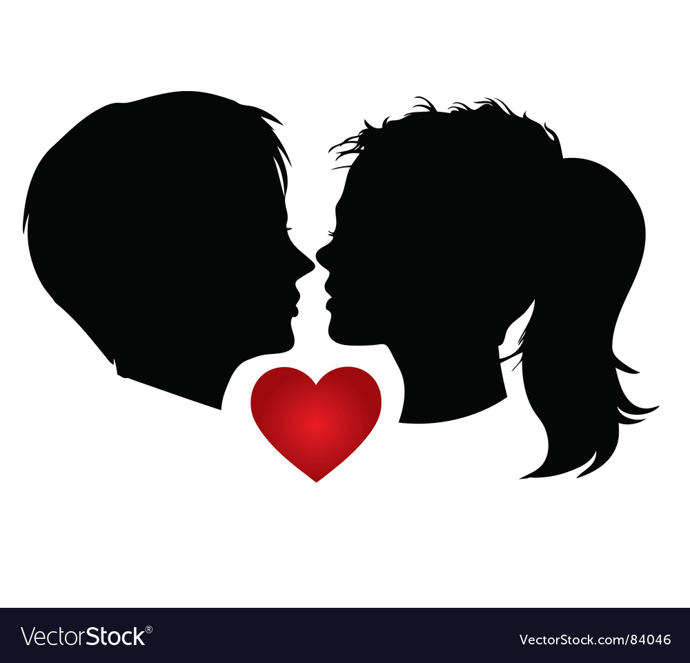 Couple kisses vector