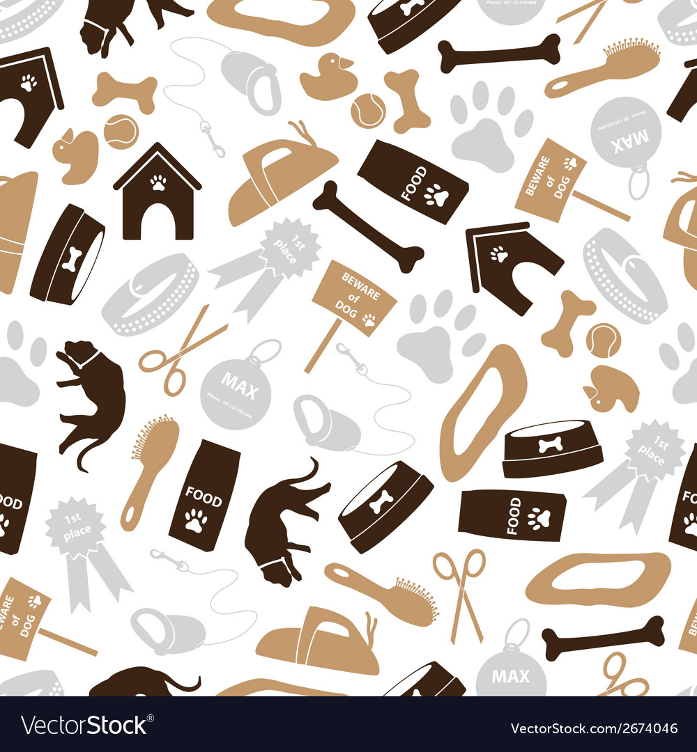 Dog icons brown color seamless pattern eps10 vector | Price: 1 Credit (USD $1)