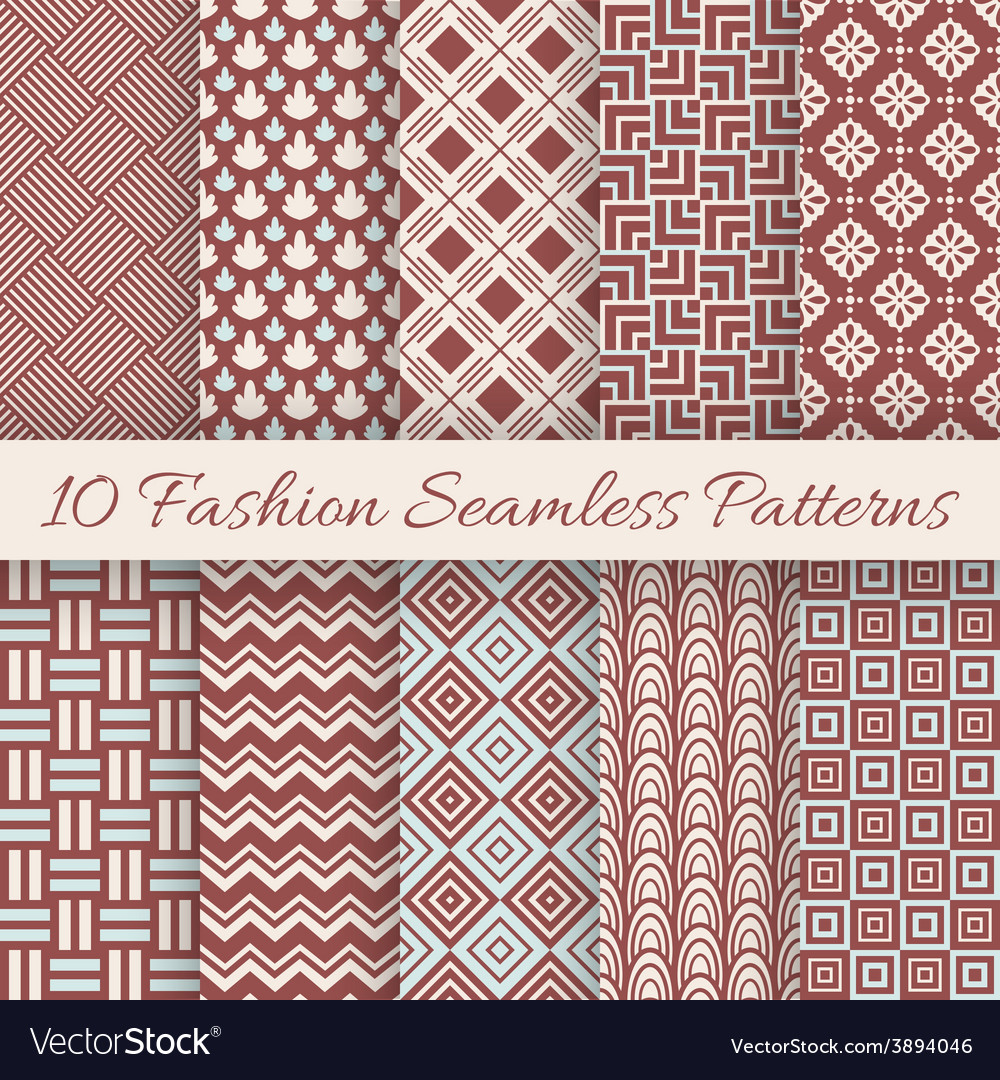 Fashion marsala color seamless pattern set vector | Price: 1 Credit (USD $1)